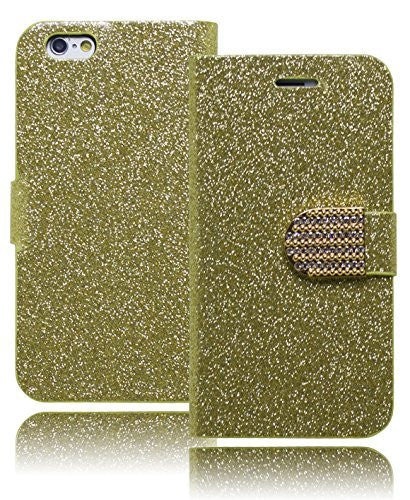 "Protective Gold Glitter Bling Design Flip Wallet  iPhone 6, 4.7"" - BastexShop"