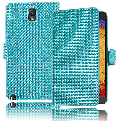 Leather Wallet Flip Case  Samsung Galaxy Note 3 - Teal Crystal Blin - BastexShop