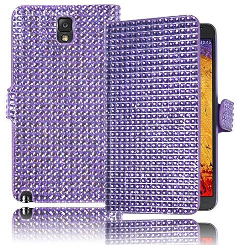 Leather Wallet Flip Case  Samsung Galaxy Note 3 - Pastel Purple Cry - BastexShop