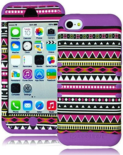 Hybrid   Black Pink Aztec  Case Purple Cover  iPhone 5c, I5 - BastexShop