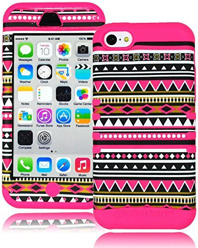 Hybrid Tribal Aztec Case Cover+Hot Pink Silicone  iPhone 5C - BastexShop