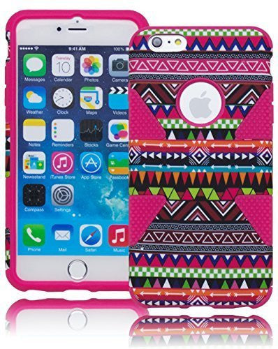 "Hybrid Hot Pink with Aztec Tribal Design  Case Cover  iPhone 6 Plus, 5.5"" - BastexShop"