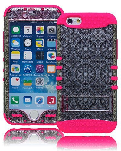 "Silver Antique Circles Kickstand  Case with Pink Silicone  iPhone 6, 4.7"" - BastexShop"