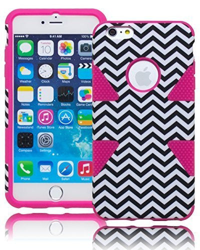 "Hybrid Hot Pink with Black and White Chevron Case Cover  iPhone 6 Plus, 5.5"" - BastexShop"