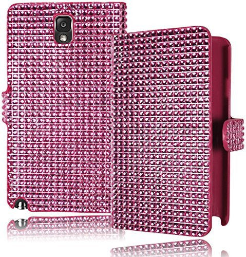 Pink Crystal Bling Leather Wallet Case Cover  Samsung Galaxy Note 3 - BastexShop