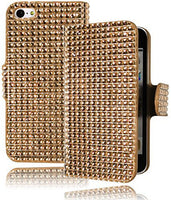 Leather Wallet Flip Case  Apple iPhone 5C - Champagne Crystal Bling - BastexShop