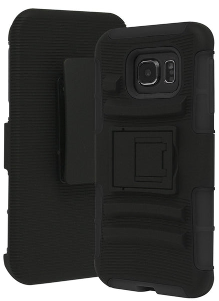 Galaxy S7 Heavy Duty Hybrid Rubber Silicone Cover with Protective Kickstand Holster Belt Clip Case for Samsung Galaxy S7 (Black) - BastexShop