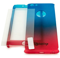 iPhone 6 Slim Light-weight Full Body Fade 2 Piece Snap-On Case w/ Glass Screen Protector (Red to Blue) - BastexShop