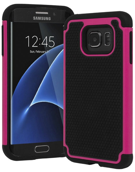 Galaxy S7 Edge, Hybrid Dual Shock Case (Hot Pink) - BastexShop
