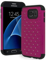 Galaxy S7 Heavy Duty Slim Fit Hybrid Rubber Silicone Cover with Bling Rhinestone Premium Dual Shock Phone Case for Samsung Galaxy S7 (Hot Pink) - BastexShop