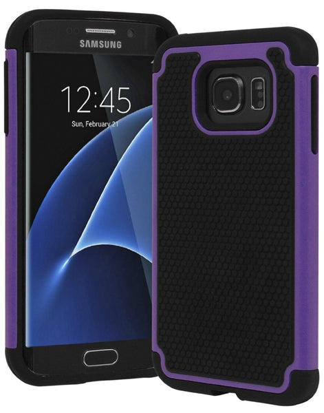 Galaxy S7 Edge Heavy Duty Slim Fit Hybrid Armor Premium Dual Shock Rubber Silicone Cover with Hard Protective Case for Samsung Galaxy S7 Edge (Purple) - BastexShop