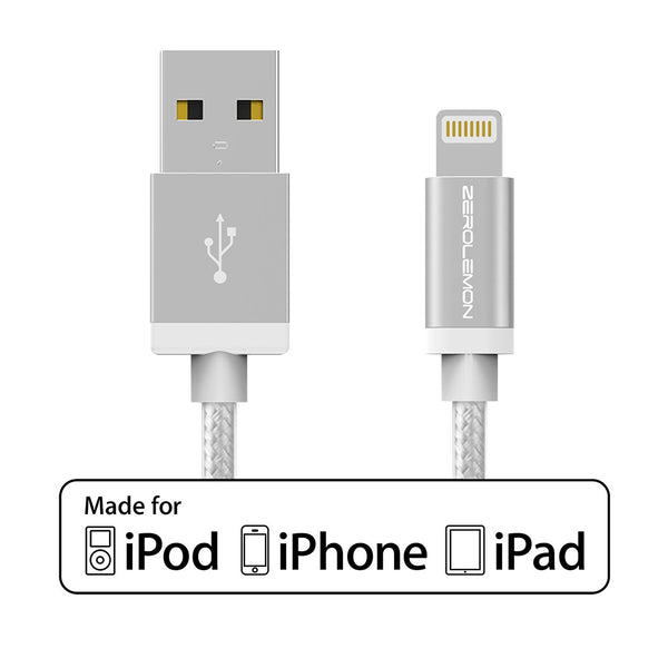 [Apple MFi Certified] ZeroLemon Lightning to USB Rugged Nylon Cable 6.4 Feet / 2 Meter + Aluminum Cap for iPhone, iPod and iPad [2 Years Warranty]- Rugged Silver