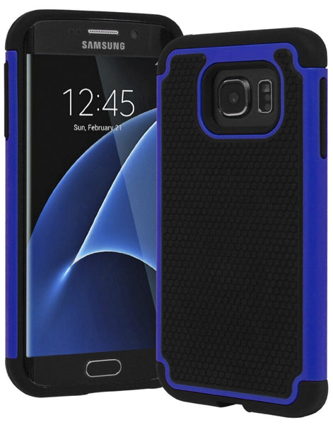 Galaxy S7 Edge Heavy Duty Slim Fit Hybrid Armor Premium Dual Shock Rubber Silicone Cover with Hard Protective Case for Samsung Galaxy S7 Edge (Blue) - BastexShop