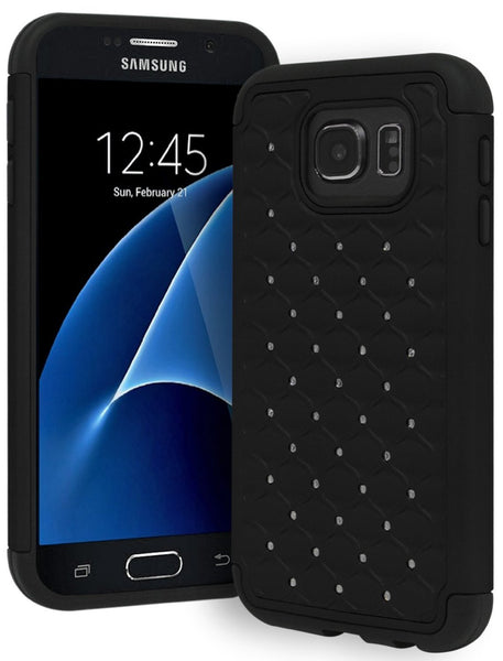 Samsung Galaxy S7 Hybrid with Bling Rhinestone Dual Shock Case (Black) - BastexShop
