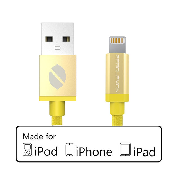 ZeroLemon Yellow 6 inch Plastic PVC Lightning Cable