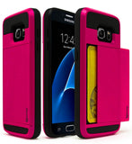 Samsung Galaxy S7 Hybrid Hot Pink Hidden Wallet Phone Case - BastexShop