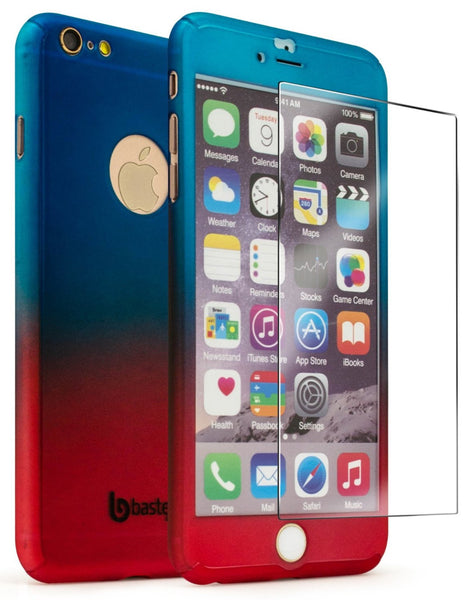 "iPhone 6 Plus 5.5,"" Blue to Red Fade Case With Glass Screen Protector - BastexShop"
