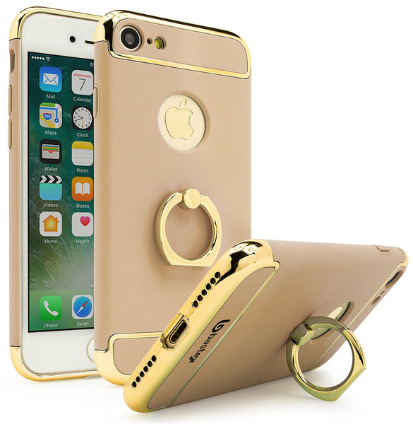 iPhone 7 Case, Bastex Gold Accent Pieces Gold Case Gold Ring Holder / Kickstand - BastexShop