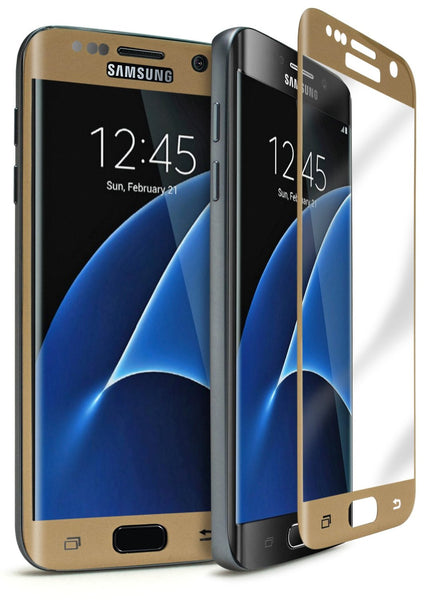 Samsung Galaxy S7 Edge Gold Tempered Glass Screen Protector - BastexShop