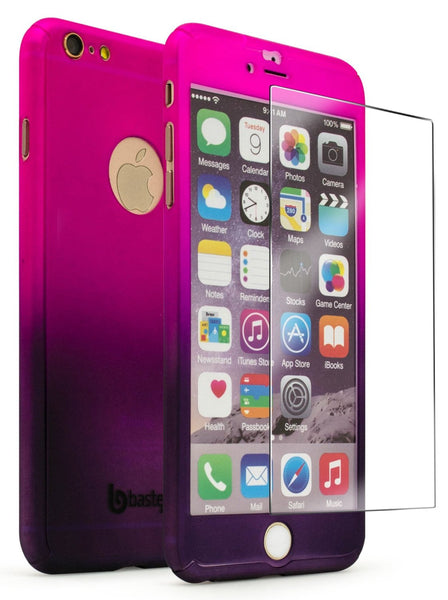 "iPhone 6 Plus 5.5"" Pink to Purple Fade Case With Glass Screen Protector - BastexShop"