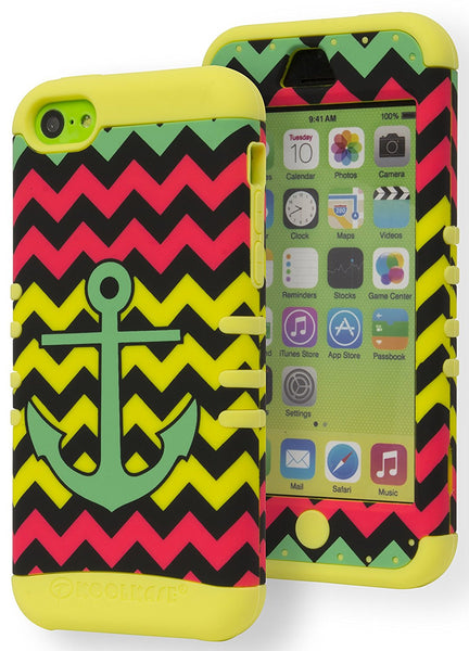 Apple iPhone 5c Hybrid Teal Anchor Kickstand Chevron + Yellow Silicone Cover - BastexShop