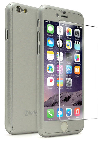 "iPhone 6 4.7,"" Full Body Silver Case with Tempered Glass Screen Protector - BastexShop"