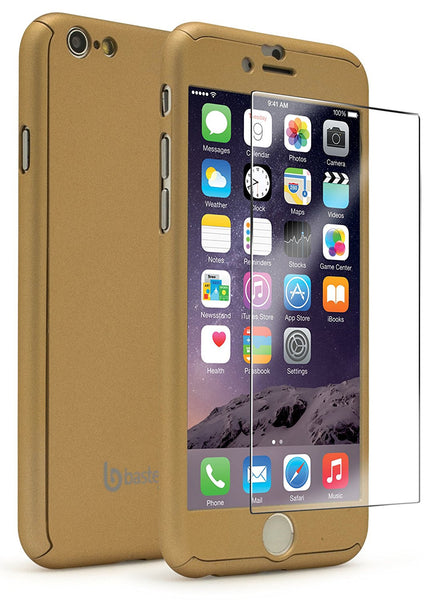 iPhone 6 4.7, Full Body Gold Case with Glass Screen Protector - BastexShop