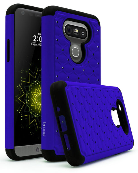 LG G5 Case, Bastex Hybrid Slim Fit Heavy Duty Protection Black Trimming Blue Bling Rubber Silicone Cover Case for LG G5 - BastexShop