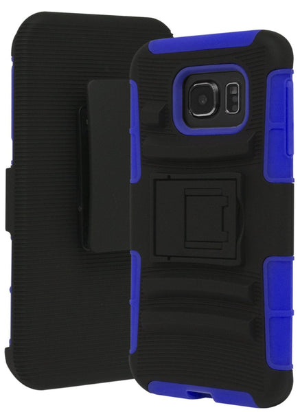 Galaxy S7 Edge Heavy Duty Hybrid Rubber Silicone Cover with Protective Kickstand Holster Belt Clip Case for Samsung Galaxy S7 Edge (Blue/Black) - BastexShop