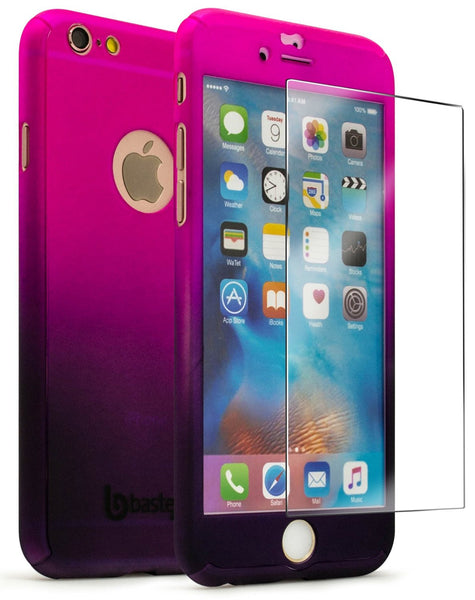 iPhone 6 4.7, Full Body Pink to Purple Fade Case With Glass Screen Protector
