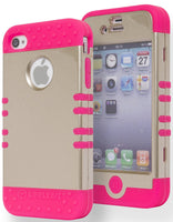 Hybrid Gold  Case+ Hot Pink Silicone Cover  iPhone 4, 4S - BastexShop