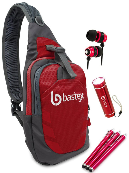 "Bastex On the ""GO"" Bundle, Red Shoulder Travel Sports Backpack. With LED Mini Flashlight, and Stylus, Wired Ear Bud Headphones with Mic - BastexShop"