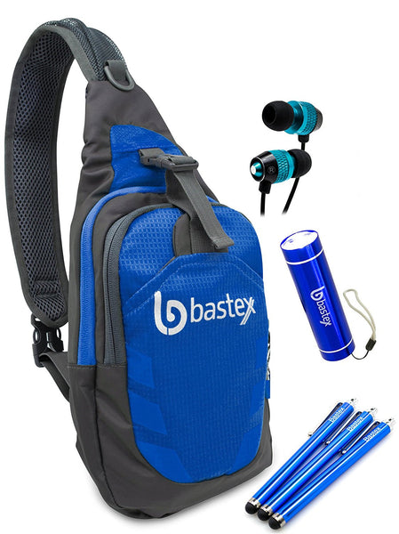 "Bastex On the ""GO"" Bundle, Blue Shoulder Travel Sports Backpack. With LED Mini Flashlight, and 3pk Stylus, Wired Ear Bud Headphones with Mic - BastexShop"