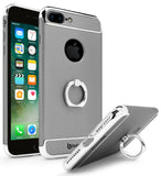 iPhone 7 Plus Bastex Ultra Slim Fit Silver Accent End Pieces Hard Plastic Grey Snap On Case Cover with Gold Ring Holder / Kickstand - BastexShop