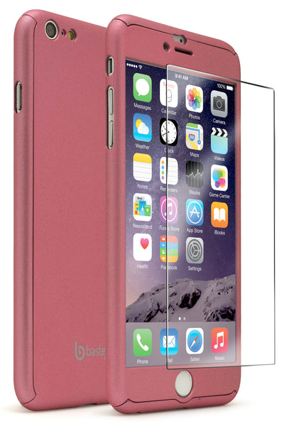 iPhone 6 Plus Pink Full Body Case With Tempered Glass Screen Protector - BastexShop