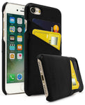 iPhone 7, Bastex Premium Genuine Leather Black Snap On Executive Wallet Card Case - BastexShop