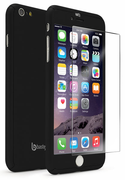 "iPhone 6 Plus 5.5"" Black Full Body Case With Tempered Glass Screen Protector - BastexShop"