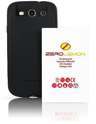 ZeroLemon Samsung Galaxy S3 7000mah Extended Battery +Black TPU Full Edge Case