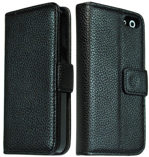 iPhone 5 5G Black Leather PU Flip Magnetic Case Cover Stand - BastexShop