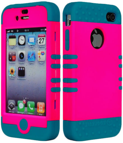 Hybrid Hot Pink  Case   Blue Silicone Back Cover  iPhone 4, 4S - BastexShop