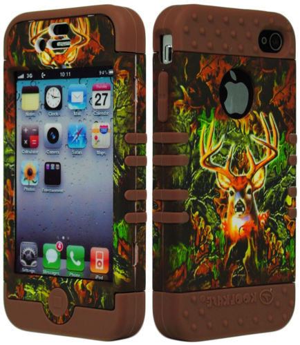 Hybrid Deer Camo Hunting  Case  Brown Silicone Cover  iPhone 4, 4S - BastexShop