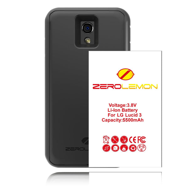 LG Lucid 3, ZeroLemon 5500mAh Extended Battery + Case - BastexShop