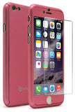 "iPhone 6, 4.7"" Pink Full Body Case With Tempered Glass Screen Protector - BastexShop"