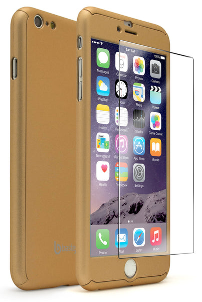 "iPhone 6 Plus 5.5"" Gold Full Body Case With Tempered Glass Screen Protector - BastexShop"