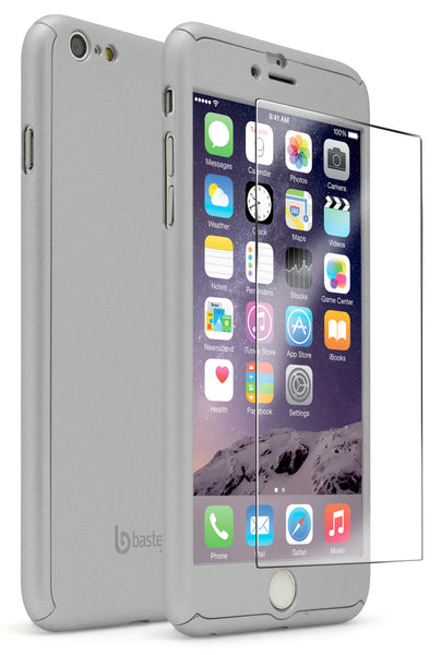 "iPhone 6 5.5"" Silver Full Body Case With Tempered Glass Screen Protector - BastexShop"