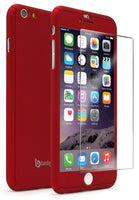 "iPhone 6S Plus 5.5"" Red Full Body Case With Tempered Glass Screen Protector - BastexShop"
