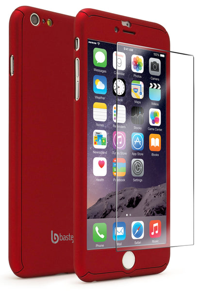 Apple iPhone 6S Plus Red Full Body Slim Fit Case With Tempered Glass Screen Protector - BastexShop