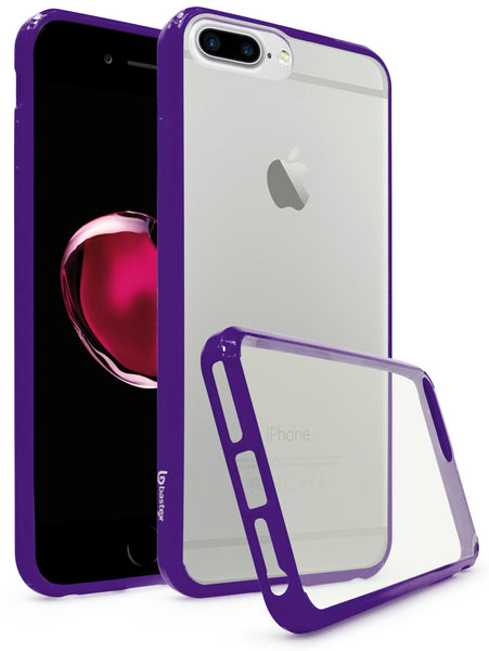 Apple iPhone 7 Plus Bastex Slim Fit, Flexible, Clear Transparent Back Cover, Fused TPU Purple Side Bumper Case - BastexShop
