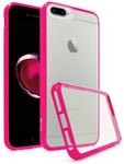 Apple iPhone 7 Plus Bastex Slim Fit, Flexible, Clear Transparent Back Cover, Fused TPU Hot Pink Side Bumper Case - BastexShop