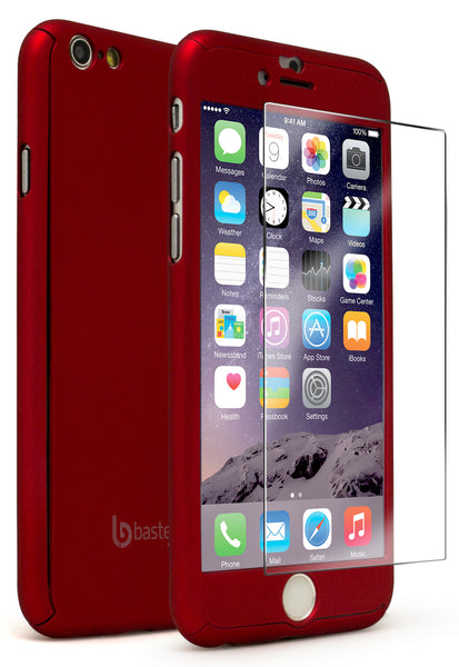 "iPhone 6, 4.7"" Red Full Body Case With Tempered Glass Screen Protector - BastexShop"